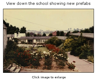 View down the school showing the new prefabs  built 1948